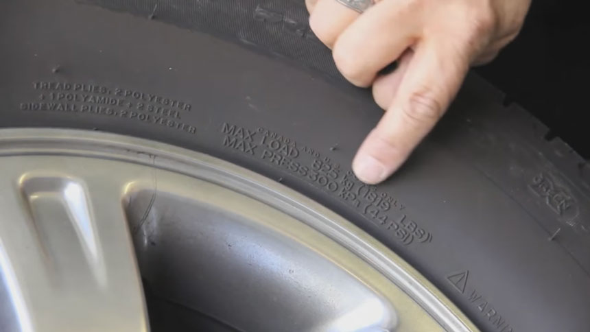 how to check tyre maximum load
